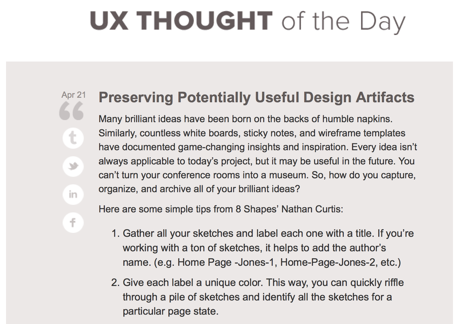 UX Thought of the Day