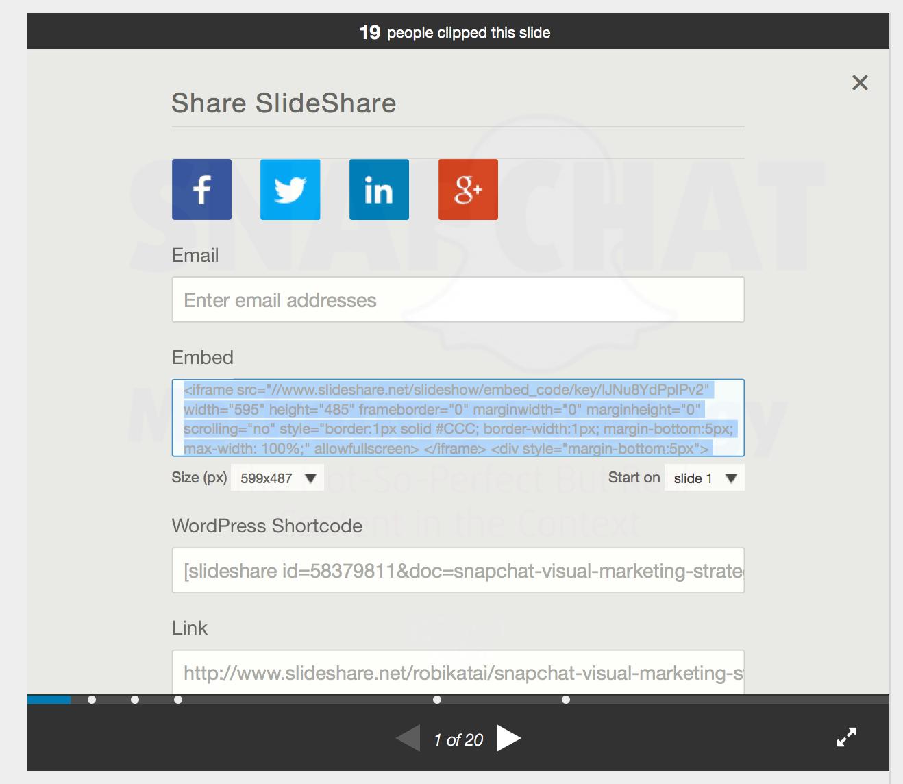 Embed code Slideshare