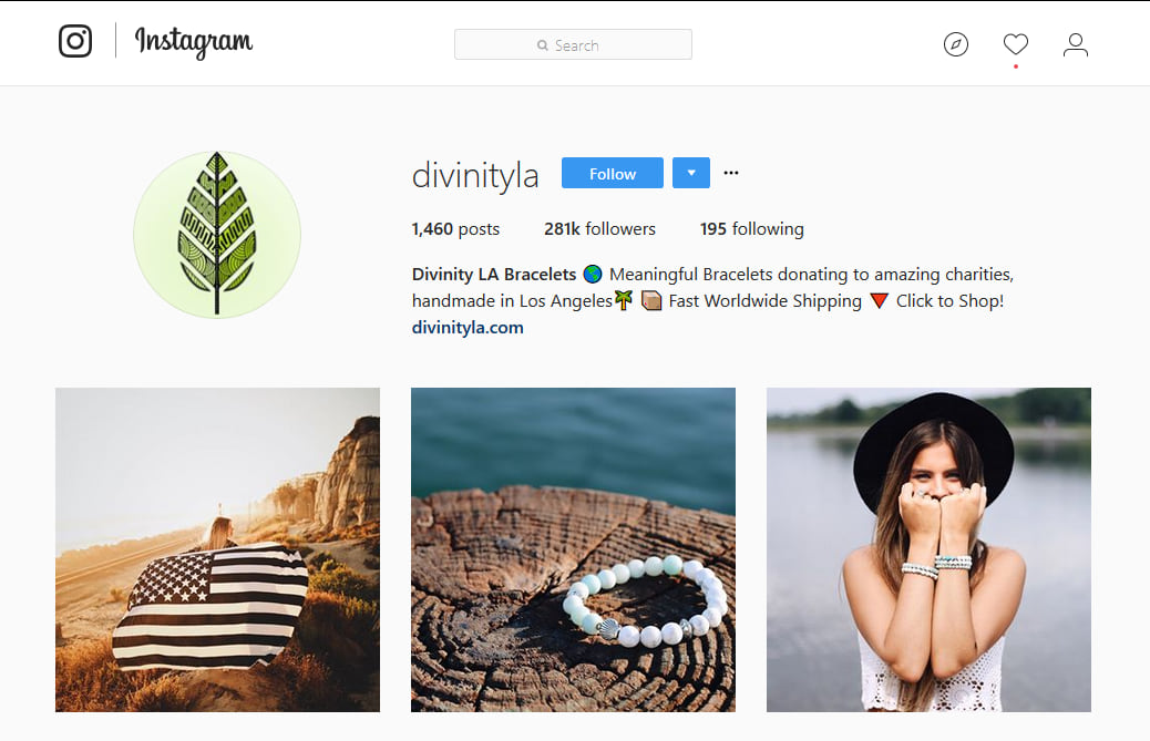 Divinity LA Bracelets Instagram Marketing