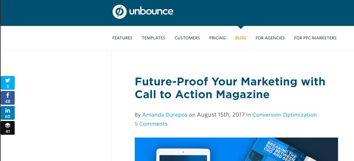 Unbounce blog social media share buttons