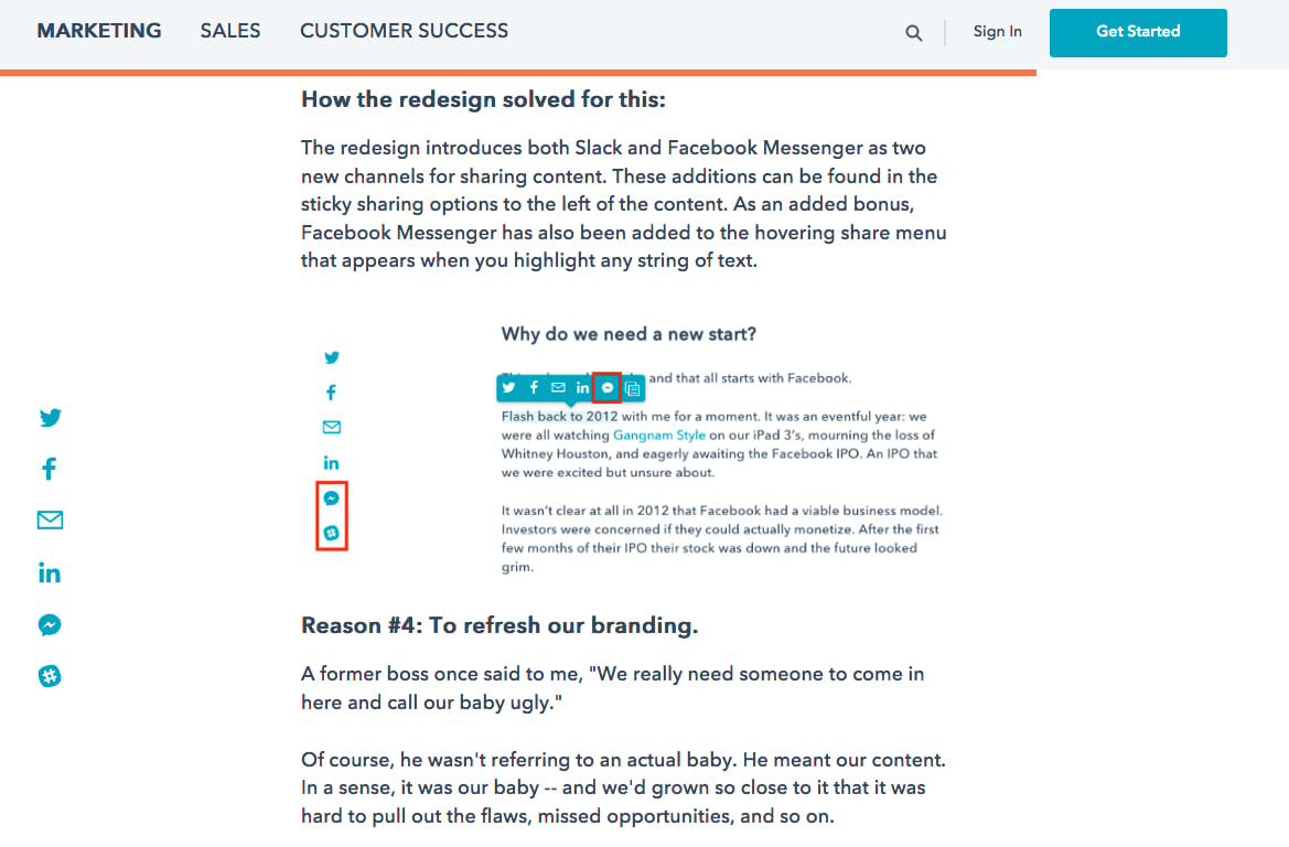 hubspot blog select to share