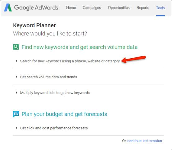 01. google keyword planner