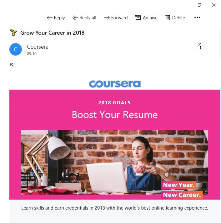 coursera email marketing