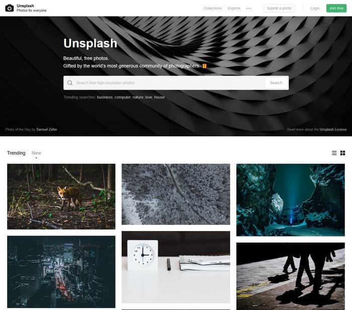 Unsplash visual content tool