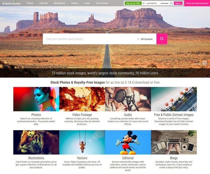 Dreamstime visual content tool