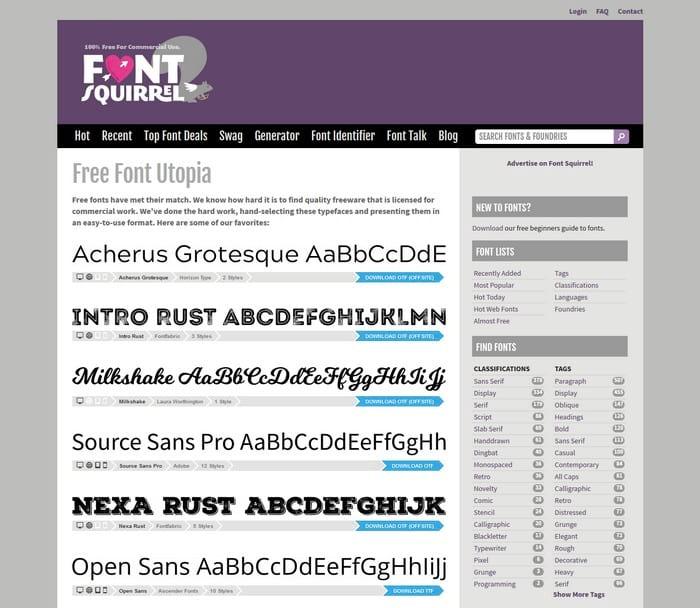 Font squirel visual content tool