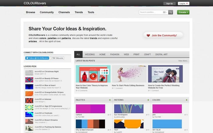 Colorlovers visual content tool