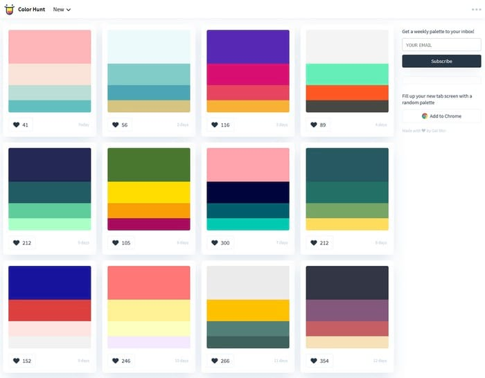 Colorhunt visual content tool