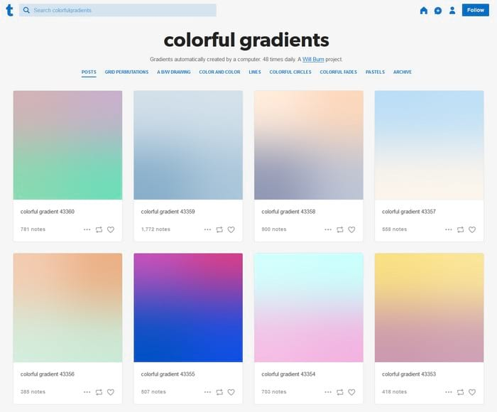 Colorful gradients visual content tool