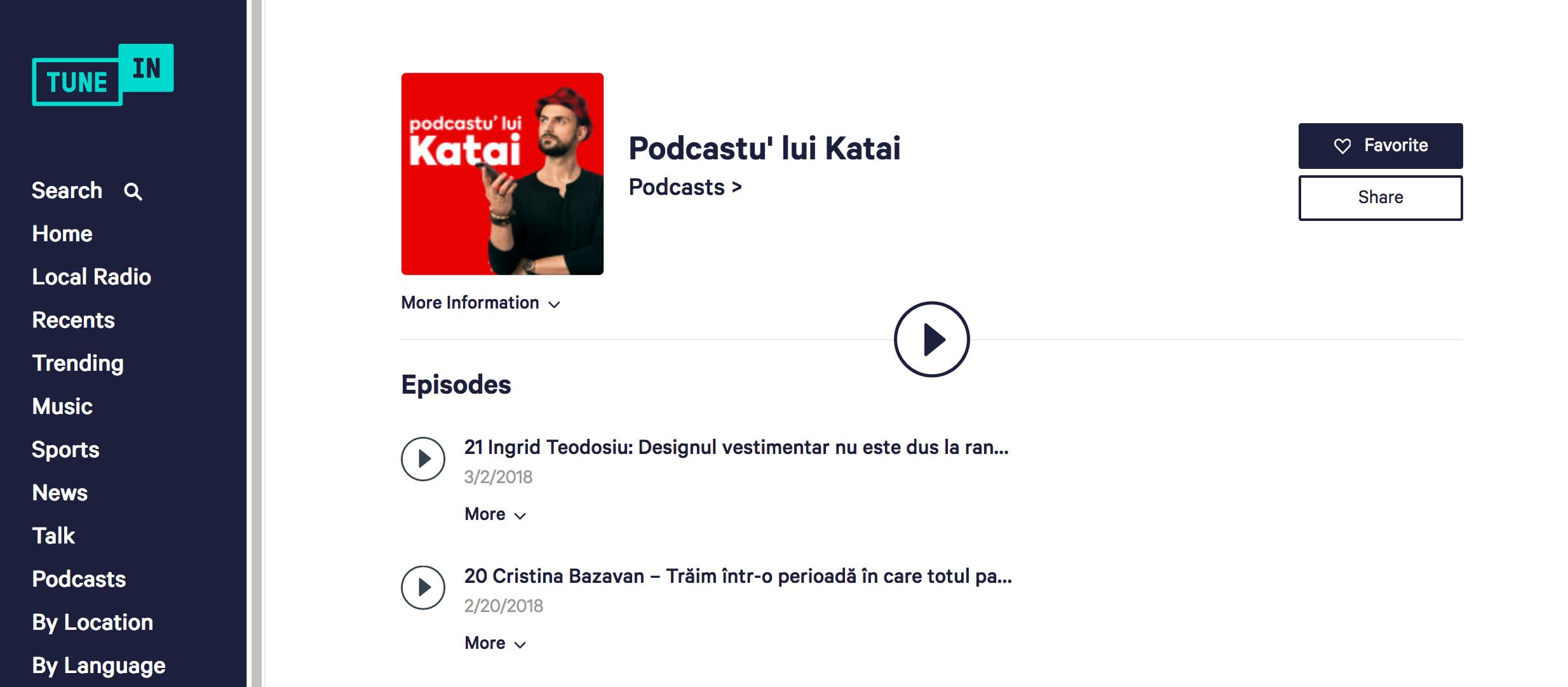 tunein podcastu' lui katai