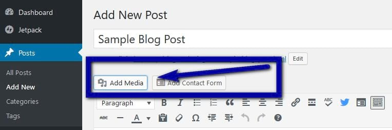 Upload and insert in a blog post