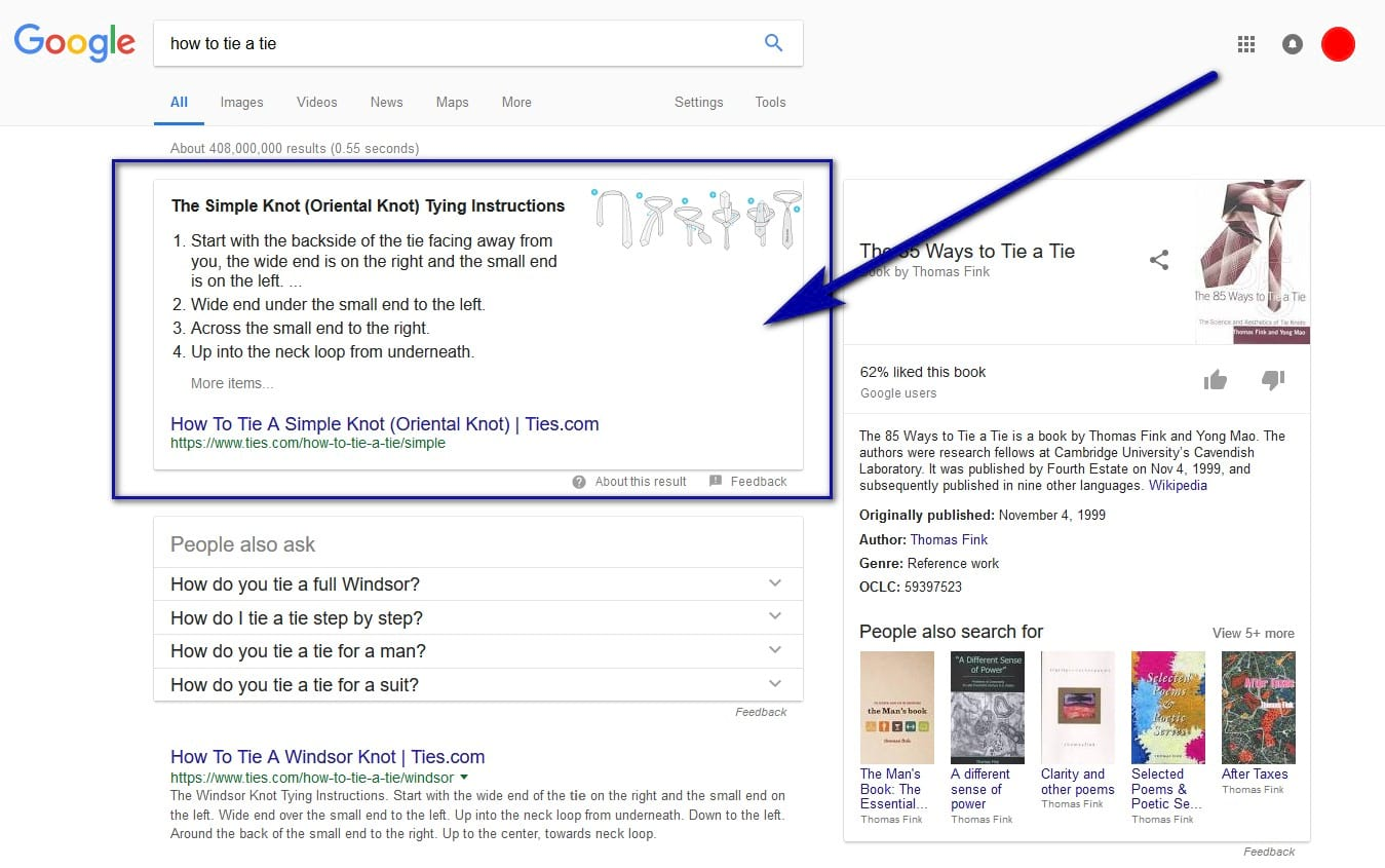featured snippets results example