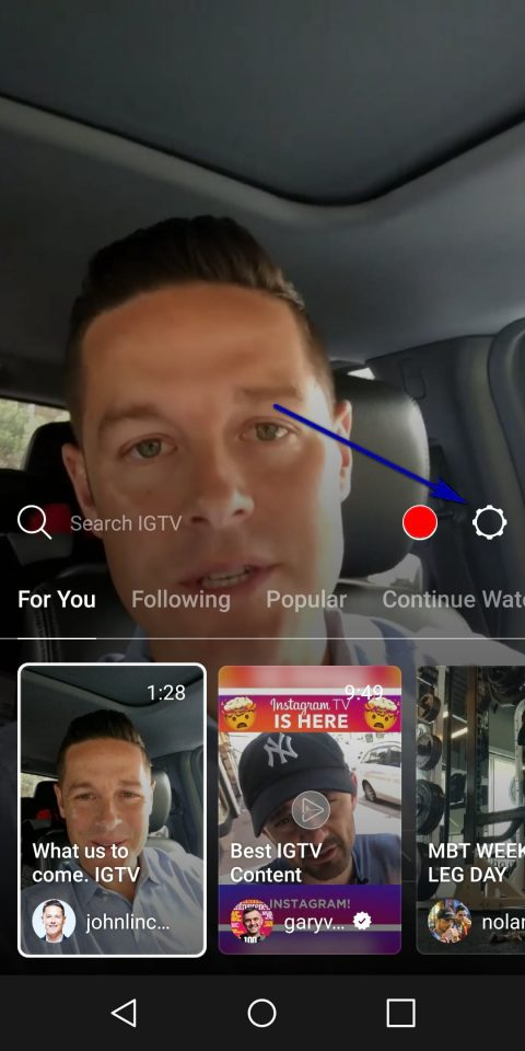 instagram igtv menu