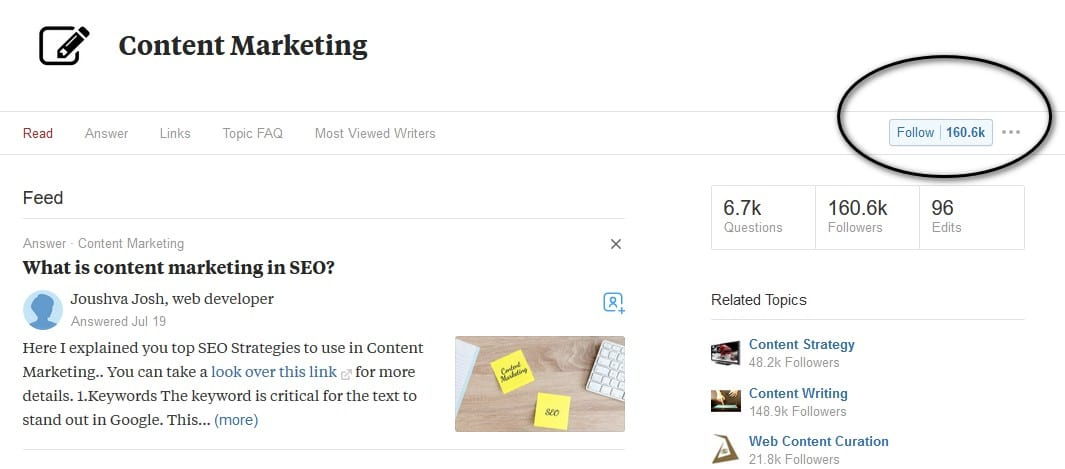 follow topic quora marketing