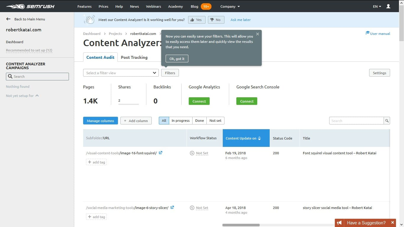 semrush content analyzer