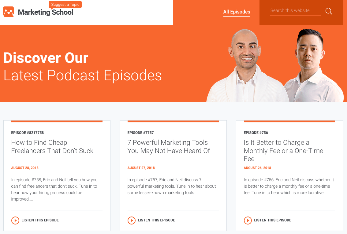 marketingschool podcast website
