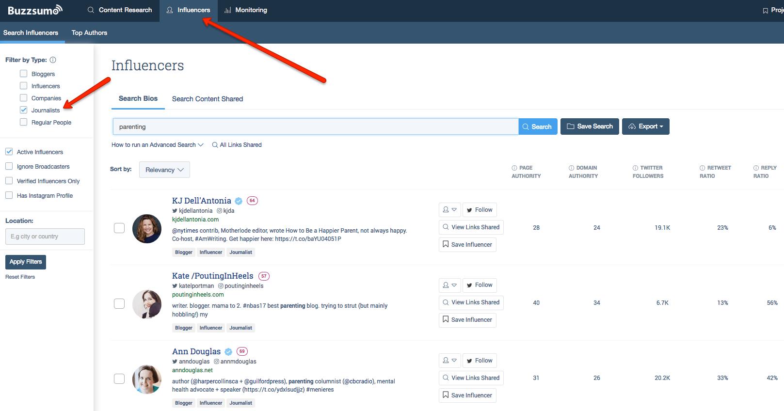 buzzsumo tool influencer