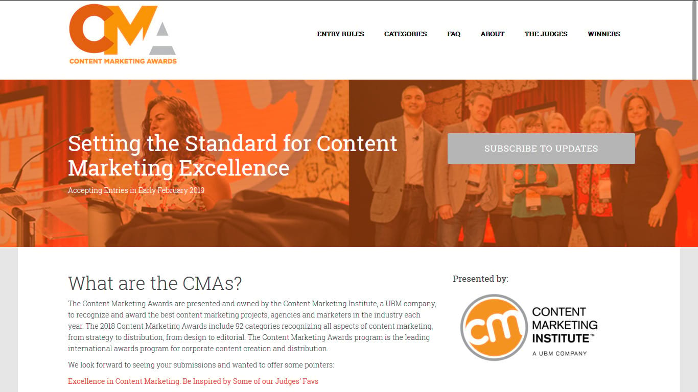 content marketing awards marketing collateral example