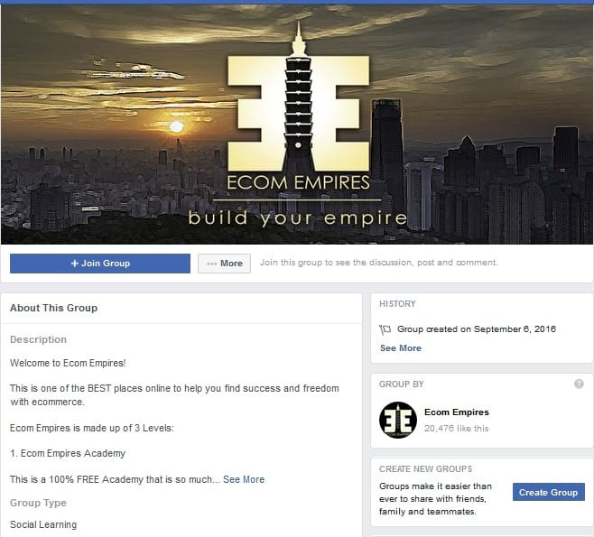 Ecom Empires Facebook Groups