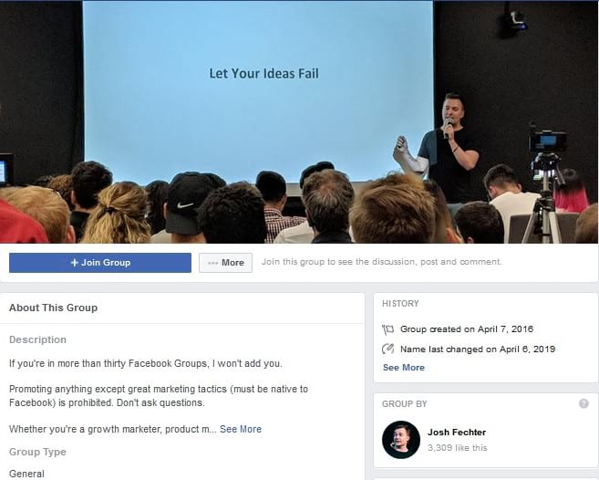 Product & Growth with Josh Fetcher Facebook Groups