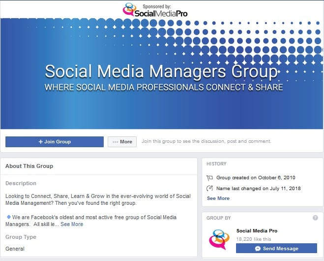 Social Media Managers Facebook Groups