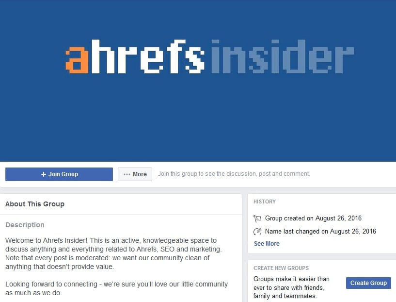 Ahrefs insider facebook group
