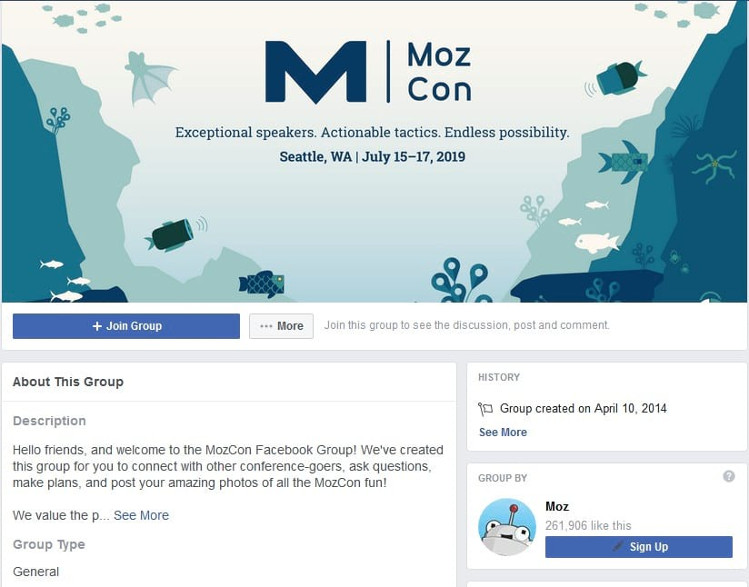 MOZCon facebook group