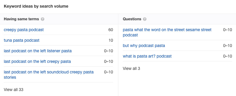 pasta podcast research